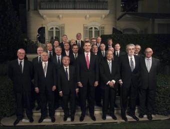 Imatge d'una reunio recent del grup d'empresaris 'Foro Puente Aereo' amb el príncep Felip, en la que`no hi havia cap dona EFE
