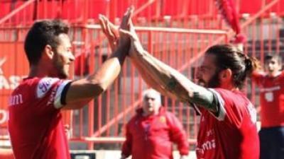 Marcos i Marí celebren un dels gols d'ahir ELISABET MAGRE