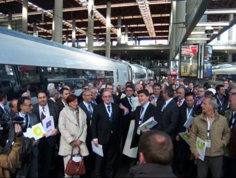 La delegació de Pimec arribant a Madrid durant l'acte reivindicatiu convocat el març de 2009.  ARXIU