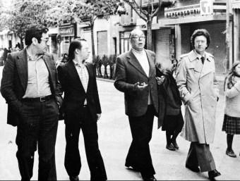 J. Nadal, Ll. M. de Puig, P. Vilar i J. Sobrequés, passejant a Girona l'any 1979.  ARXIU /EL PUNT