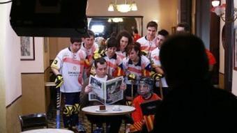 Un moment de la gravació de l'espot de promoció de l'Esportiu, que es passa aquests dies M. LLADÓ