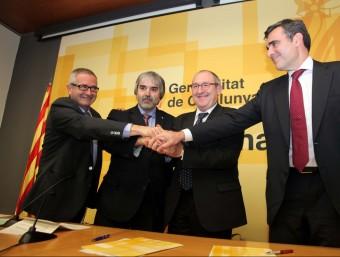Els delegats del govern de l'Ebre i el Camp de Tarragona, amb Aregio i Adserà J. F