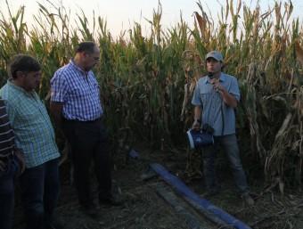 Regants i pagesos, en una demostració dels sistemes de reg amb mànegues de degoteig als camps de blat de moro de la finca de l'IRTA al Mas Badia, l'any 2012 E.A