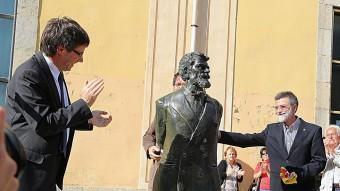 L'escultura que dedica Girona al ciutadà Laureà Dalmau MANEL LLADÓ