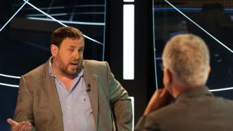 El president d'ERC, Oriol Junqueras, durant l'entrevista a El Punt Avui Televisió ANDREU PUIG
