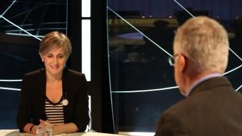 La coordinadora nacional d'ICV Dolors Camats, durant l'entrevista a El Punt Avui Televisió EL PUNT AVUI