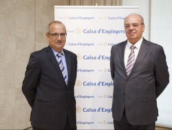 Joan Cavallé i Josep Oriol Sala, director i president respectivament de Caixa d'Enginyers.  ARXIU