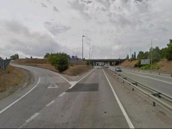 Aspecte parcial de l'enllaç de l'A2 al terme municipal de Vidreres, que el Ministeri de Foment remodelarà. EL PUNT