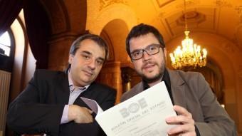 El periodista Andreu Mas amb el diputat Pere Aragonès (ERC) ANDREU PUIG
