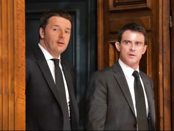 el primer ministre italià, Matteo Renzi, i el seu homòleg francès, Mauel Valls.  AFP