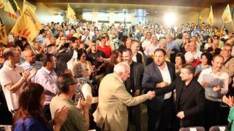 Oriol junqueras i Ernest Maragall ahir en un míting a Tarragona amb prop de 400 persones JUDIT FERNÀNDEZ