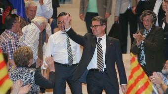 Mas i Tremosa, durant el míting d'ahir a Girona MANEL LLADÓ