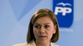 La secretària general del PP, María Dolores de Cospedal, en un acte amb empresaris aquest dimarts Toledo EFE
