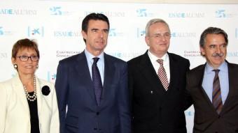 José Mauel Soria, amb Eugenia Bieto, directora general d'Esade i Martin Winterkorn, de Volkswagen, ahir al vespre ACN