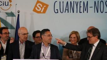 Rull, Duran, Gambús, Tremosa, De Gispert i Mas, ahir en la valoració dels resultats de CiU a les eleccions europees ANDREU PUIG