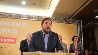 El president d'ERC, Oriol Junqueras, aquest diumenge després de saber el resultat de les eleccions al Parlament Europeu QUIM PUIG