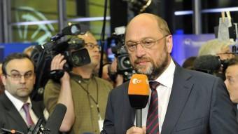 El candidat a presidir la Comissió Europea, Martin Schultz, parlant ahir dels resultats REUTERS