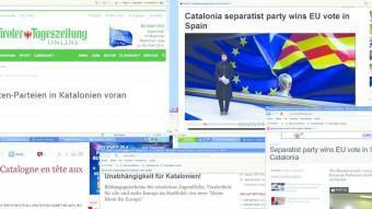 Portada on line dels mitjans de la premsa internacional que ahir van recollir, enmig de la sorpresa per alguns periodistes, la victòria d'ERC a Catalunya ELPUNTAVUI