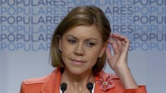 La secretària general del PP, María Dolores de Cospedal, a la roda de premsa en què ha valorat els resultats dels comicis europeus EFE