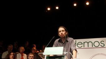 Una imatge de Pablo Iglesias, que encapçalava la llista de Podemos, que ha tret cinc diputats a les europees. PODEMOS