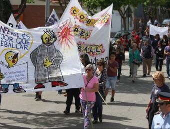 Una de les manifestacions convocades pel personal de la Grober com a protesta pels impagaments.  LLUÍS SERRAT
