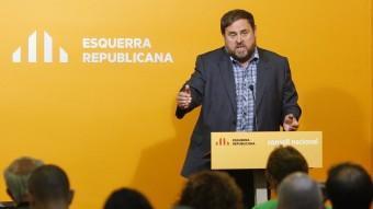 El president d'ERC, Oriol Junqueras, aquest dissabte al Consell Nacional de la formació ORIOL DURAN