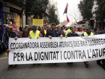 Manifestants del Baix Llobregat i el Vallès contra l'atur.  ARXIU