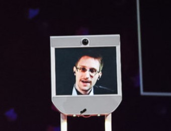 Snowden uses the robot to interact with those at the TED event in Vancouver at the beginning of this year. BRET HARTMAN / TED