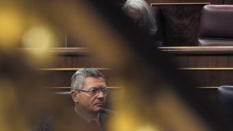 El ministre espanyol de Justícia, Alberto Ruiz Gallardón, aquest dijous al ple Congrés dels Diputats que ha aprovat l'aforament de Joan Carles I EFE
