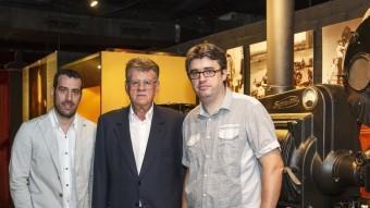 Pere Vilà, acompanyat dels productors David Gimbernat (DDM) i Joaquim Vidal, ahir al Museu del Cinema D. BORRAT / ICONNA