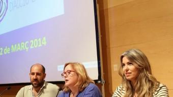 Vilaregut, Camps i Arqué, durant la presentació de l'Acord Nacional d'Acció Exterior JOAN CASTRO / ICONNA