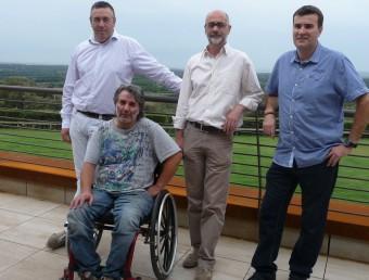 De dreta a esquerra , els alcaldes de Cantallops -Joan Sabartés-, Espolla -Carles Lagresa-, Sant Climent Sescebes - Josep Guiolà-, i el regidor de turisme de Capmany, Xavi Rodà E. C