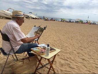 Un dels participants del 58è Concurs Internacional de Pintura Ràpida de Tossa de Mar CANAL AJUNTAMENT