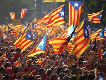 A moment of nationalist celebration during the recent September 11 demonstration in Barcelona. ALBERT SALAMÉ