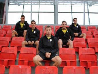 Padilla, Guzmán, Cano, Nils i Putxi , ahir en les instal·lacions esportives en les quals està concentrada la selecció ÁLVARO MONTOLIU / FCF