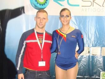 Manel Villaroya i la seva patinaodra júnior Núria Gas L'ESPORTIU