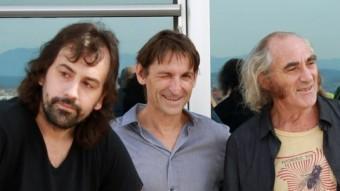 Lacuesta conversant amb Sunyer, acompanyats per Albert Pla, Pau Riba i Ivan Telefunken ahir a l'Hotel AC Bellavista M. LLADÓ