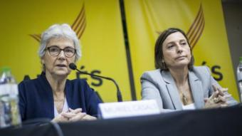 Les presidentes d'Òmnium Cultural i de l'Assemblea Nacional Catalana (ANC), Muriel Casals i Carme Forcadel, el passat dijous a la presentació de la Marató9N ALBERT SALAMÉ
