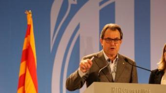 El president de la Generalitat, Artur Mas, durant la compareixença aquest diumenge a la nit ANDREU PUIG
