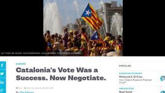 Captura de pantalla de l'editorial de Bloomberg en què demana que Catalunya i Madrid negociïn ACN