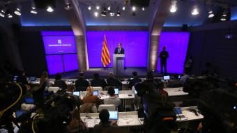Artur Mas durant la roda de premsa que ha fet aquest migdia QUIM PUIG