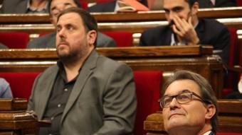 Oriol Junqueras i Artur Mas, aquest dimecres al Parlament ACN