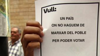 Un cartell de protesta per no haver pogut votar el 9-N ACN