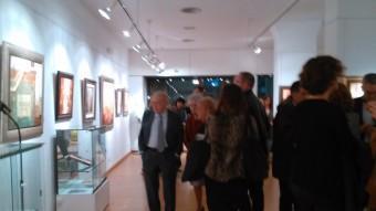 Jordi Pujol i Marta Ferrusola a l'exposició de Rosa Serra i Xavier Carbonell a la sala El Claustre de Girona. P.PUJADES