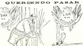 Acudit publicat a El Imparcial el 3 de desembre de 1918 en el que es fa referència als intents de dur el plet català a la Societat de Nacions AHCB / HEMEROTECA BIBLIOTECA DE CATALUNYA / HEMEROTECA