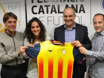 Lluís Cortés i Natàlia Arroyo, al costat del president de la FCF Andreu Subies i el director esportiu Marc Vives FCF
