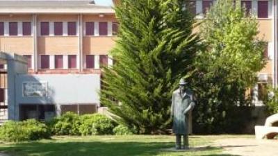 Estàtua en bronze d'Enric Valor a les portes de l'institut que porta el seu nom.