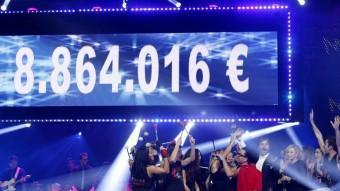 El marcador final de La Marató de TV3, enguany dedicada a les malalties del cor. TV3
