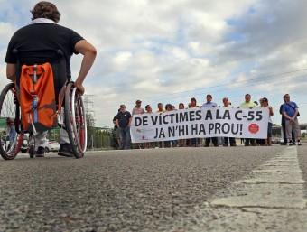 Una protesta per demanar el desdoblament de la C-55 i que avui es repetirà J. RAMOS