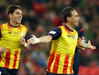 Sergio García celebra el gol que va fer en el duel d'ahir entre la selecció del País Basc i Catalunya a San Mamés FCF